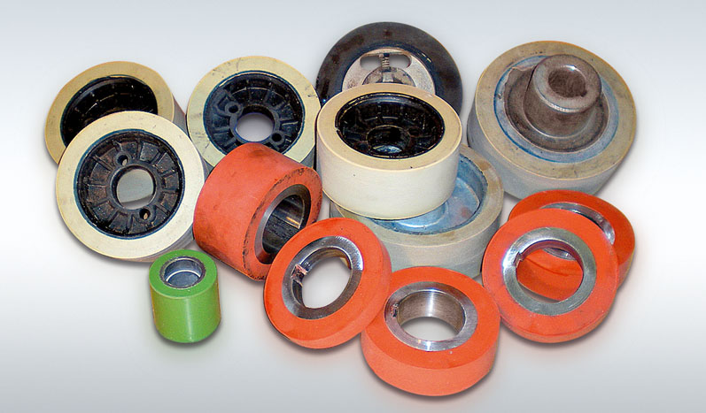 Rubber or silicone rollers for use in woodworking machinery.