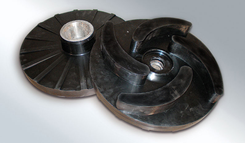 Mixers, pumps or discs rubber coverings for earth moving equipment or construction machinery.