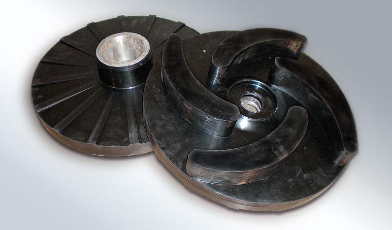 Ελαστικές επικαλύψεις αναδευτήρων, φτερωτών και αντλίων για χωματουργικά μηχανήματα ή μηχανημάτων δομικών έργων.